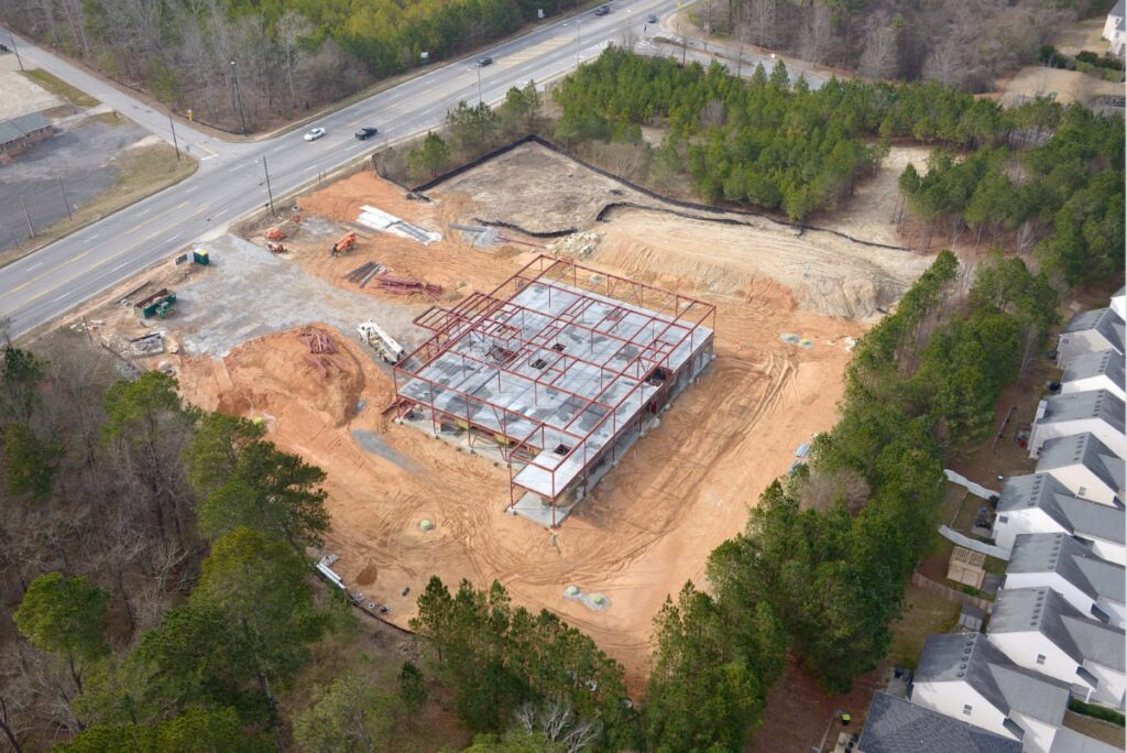 Construction of steel and concrete on Comprehensive Health Medical Center building in South Fulton, GA.