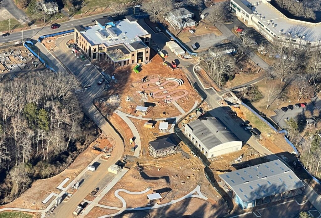 Aerial of renovation occurring in the City of Fayetteville, GA for an Event Center and Brewery.
