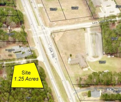 Aerial view of 1.25 acre site off of Hwy. 34 and Hiram Drive in Newnan, GA.