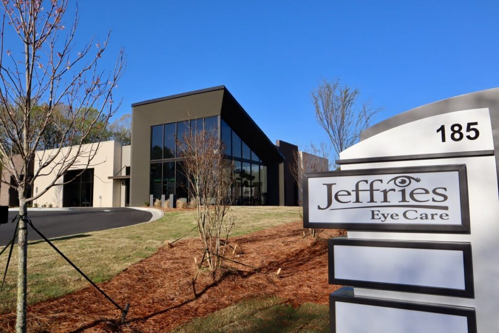 Jeffries Eye Care marquee signage and office building.