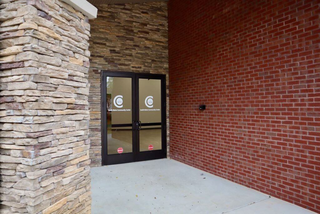 Front brick and stone facade on New Beginnings South Metro Community Center.